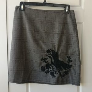 Loft plaid skirt with embroidered bird - 6